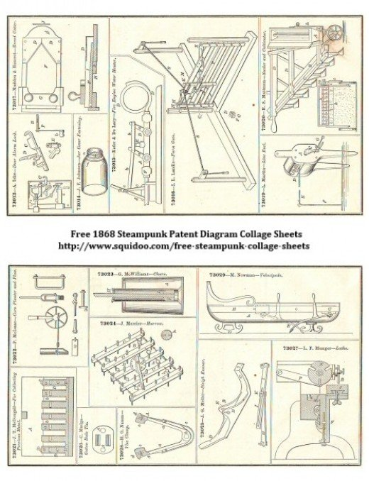 Free Digital Collage Sheet - Steampunk Machinery Pictures - Patent Diagrams