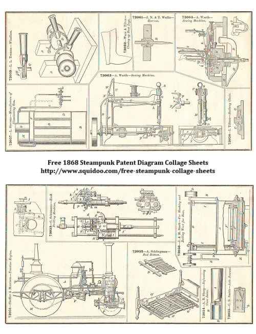 Free Digital Collage Sheet - Steampunk Diagrams - Printable Ephemera