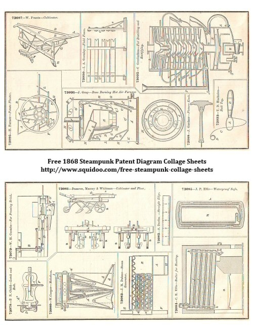 Free Digital Collage Sheet - Steampunky Images - to Download and Print