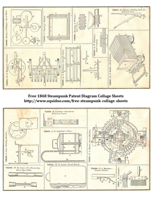 Free Digital Collage Sheet - Steampunk Pictures and Drawings - Patent Diagrams