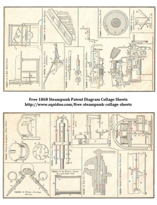 Free Digital Collage Sheet - Steampunk Inventions and Gadgets - Digital Ephemera