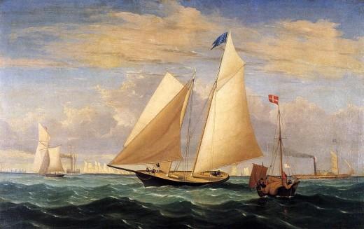 The Yacht 'America' Winning the International Race 1851, by Fitz Hugh Lane (1804-1865)