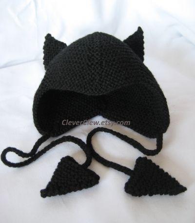Black version of Little Imp/Devil baby hat