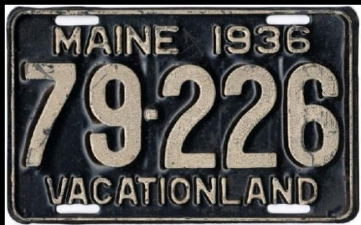 1935 - Maine:First slogan on a license plate: VACATIONLAND(Image: Maine 1936 license plate)