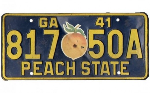 1941 - Georgia:First reflective general issue plate and first plate to use decals