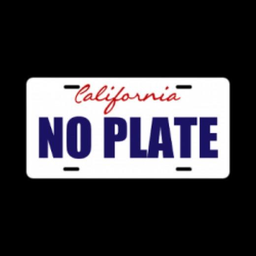 California NOPLATE license tag