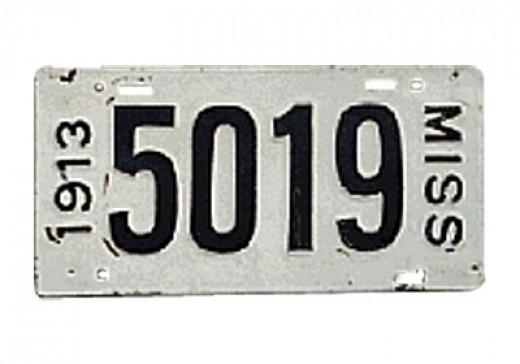 1913 - Mississippi - $50,000For a long time, collectors were unaware of the Mississippi 1913 plates. Only two are known to exist.
