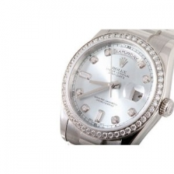 Rolex Men's Platinum President Silver Diamond Dial