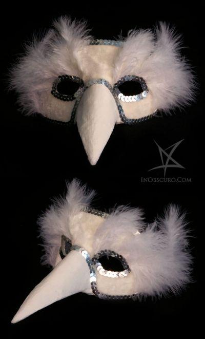 White bird venetian papier mache and plaster mask