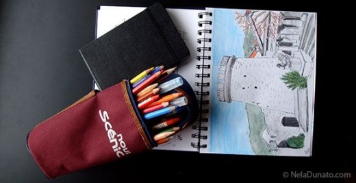 Watercolor pencils, waterbrushes and sketchbooks
