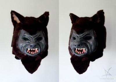 Werewolf mask - papier mache, plaster, air dry clay, acrylic sealant