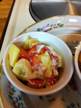 Pineapple, bananas, strawberries and apple with a yogurt or mayonnaise dressing