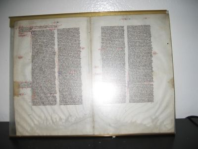 1. Manuscript on parchment: 4 pages from an approximately 13th (?) Century Bible (damaged by water).