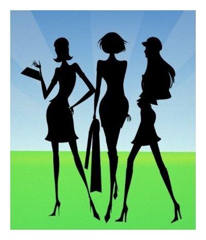 3 Shopping Women Friends Print