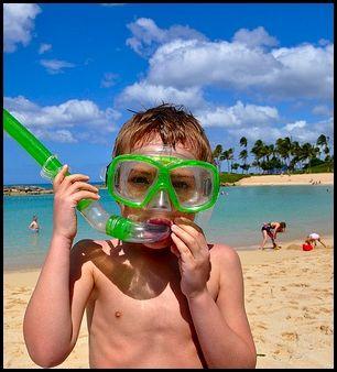 Boy on Beach in Snorkel Gear