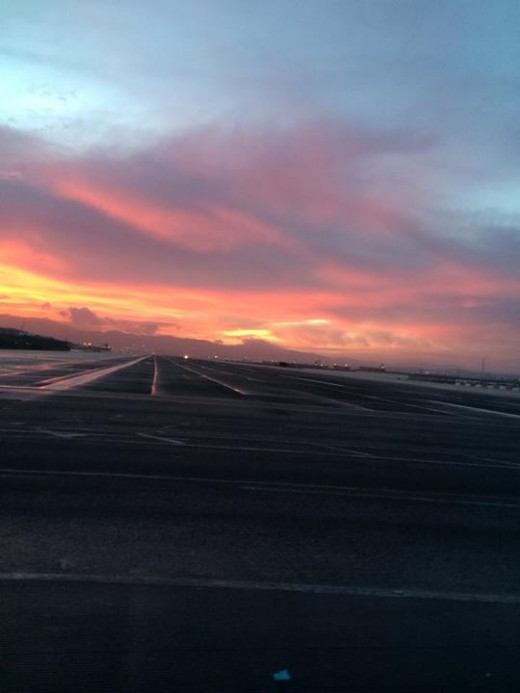 Sunset while crossing the runway.
