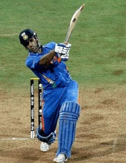 The winning shot (a six..!) by MS Dhoni of India