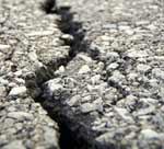 Dry damaged asphalt