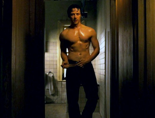 James McAvoy shirtless in Wanted. Personally he's a bit thin for my taste here.