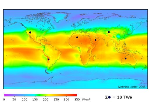 Average solar irradiance across the world, show in watts per square metre per 24 hours