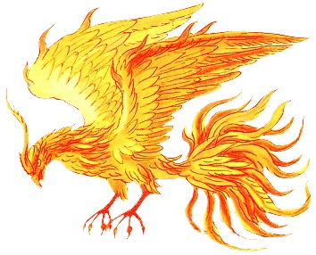 An artist's rendition of the mythical phoenix. The phoenix periodically dies in a fire but is always reborn.