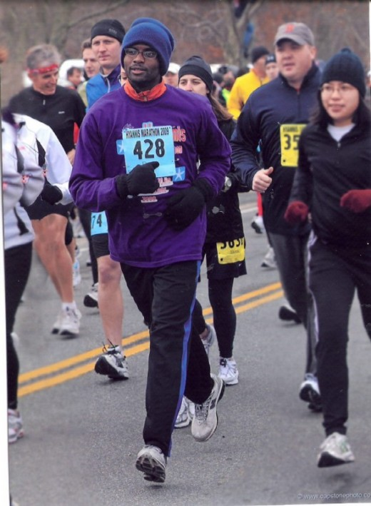 Running Back home to Godhead, see how my feet do not touch the ground. Hynis Marathon 2009.