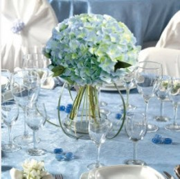 Simple Blue Hydrangea Centerpiece from mayweddingflowers.com
