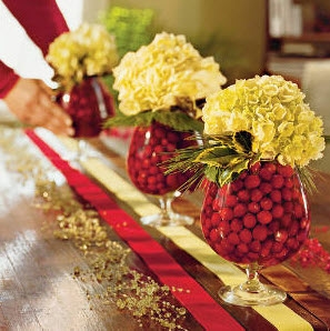 Cranberry and Hydrangea centerpiece from weddingbee.com