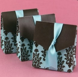 Damask favor bags with ribbons from Beau Coup