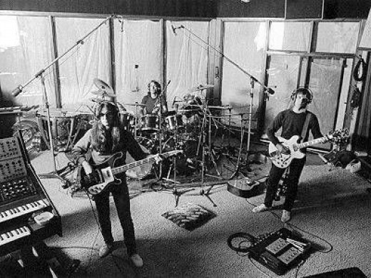 Rush in the studio, recording YYZ maybe?