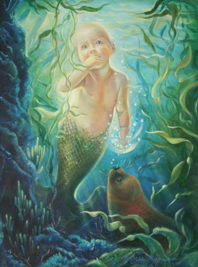 """The Mermaid Baby"" avail in posters, by Kathy Ostman-Magnusen"