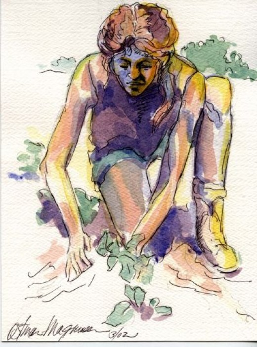 """ Gardening for the Soul"" 5x7 watercolor by Kathy Ostman-Magnusen"