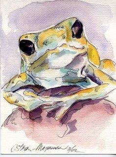 """Frog"" 4x7 watercolor sketch by Kathy Ostman-Magnusen"