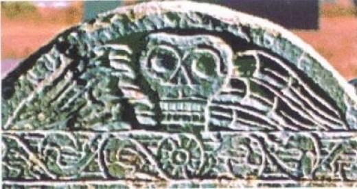 Gravestone Winged Skull