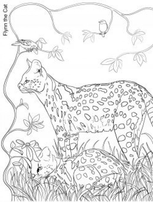 Servals in Grass: Wildlife Colouring Page