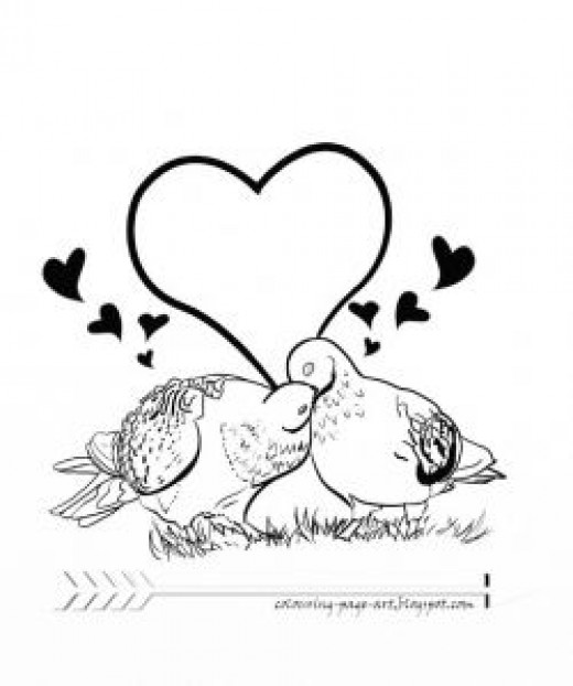 Pigeon Kiss: Wildlife Valentine Colouring Page