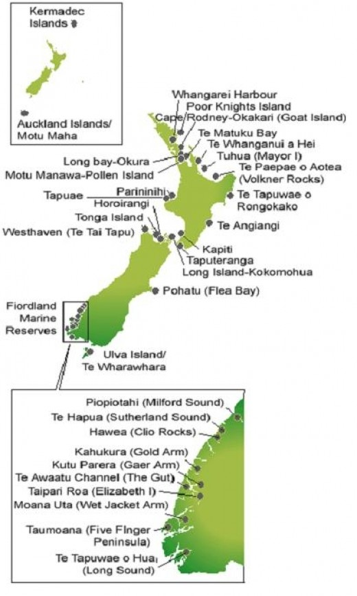 Marine Reserves around New Zealand in 2011
