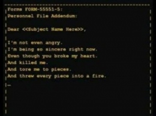 As the credits roll, GLaDOS starts filing her report...