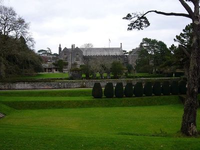 Dartington Hall from the gardens. (Foreground: Tiltyard)