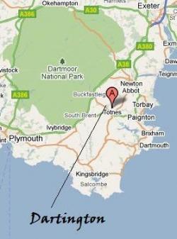 A map of Dartington, Totnes and the Dartmoor National Park