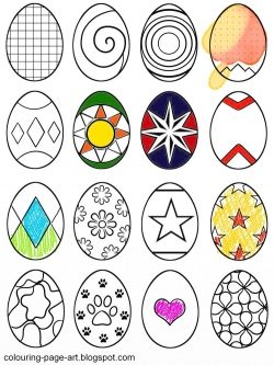 A fun assortment of sixteen patterned easter eggs to print out and colour in! Hearts, dots, stars, circles, flowers, and abstract patterns, there's plenty of variety!