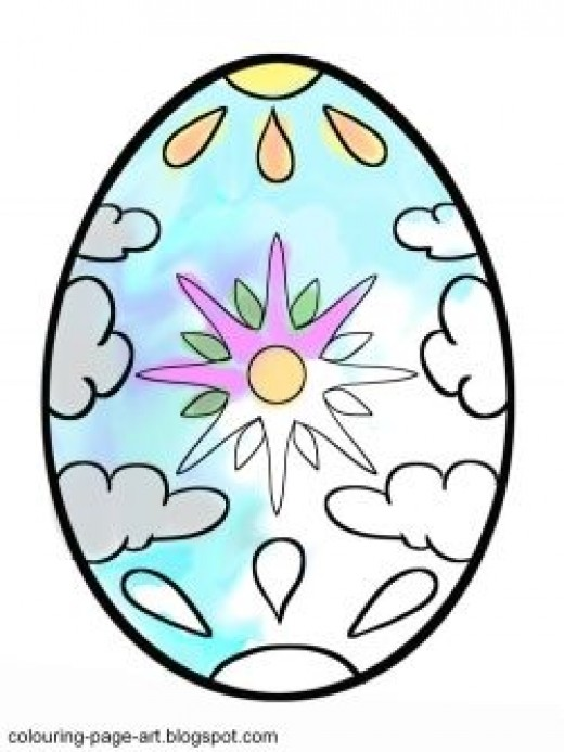 Sun and Clouds Easter Egg - click to get the printable versions!