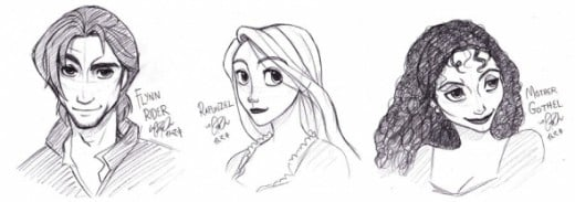 Tangled - Character Portraits (Flynn, Rapunzel, Mother Gothel) by ~ItoMaki on DeviantART