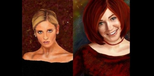 Realism Portraits of Buffy (Sarah Michelle Gellar) and Willow (Alyson Hannigan)  by Flynn-the-Cat