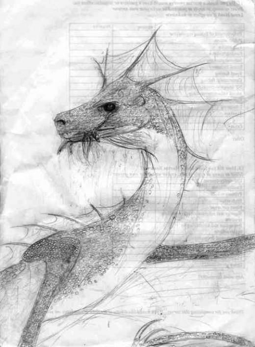 A Piscivorous Dragon - Concept drawing