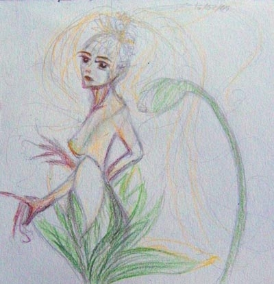 Pencil drawing - plant girl ideas