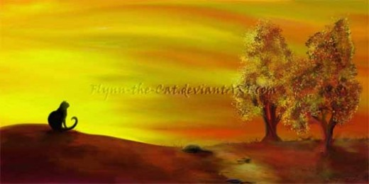 Autumn Evening - Black cat sitting on a hill, watching the golden sunset on the moors and the trees and the stream