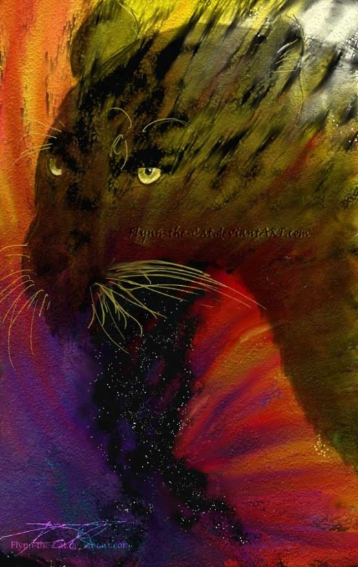 Guenhwyvar - Heavens midnight big cat painting. A panther totem,