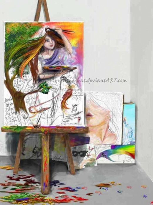 Creation of an artist - a painting paints itself.