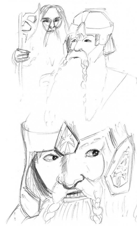 Gimli Pencil: axe face and helmet studies